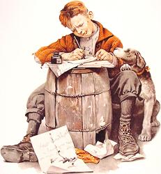 Мальчик пишущий письмо